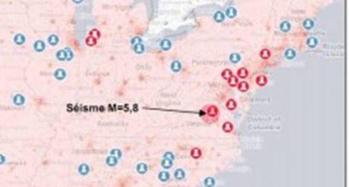 Séisme sur la côte est des USA. Deux réacteurs nucléaires mis à l'arrêt à 18 km de l'épicentre.