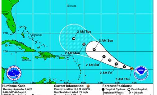 """Ouragan. Bientôt """"Katia"""", ce que décrit le National Huricane Center de MIami."""