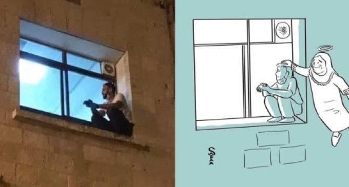 Chaque soir, juché à la fenêtre de l'hôpital, il veille sa maman mourante